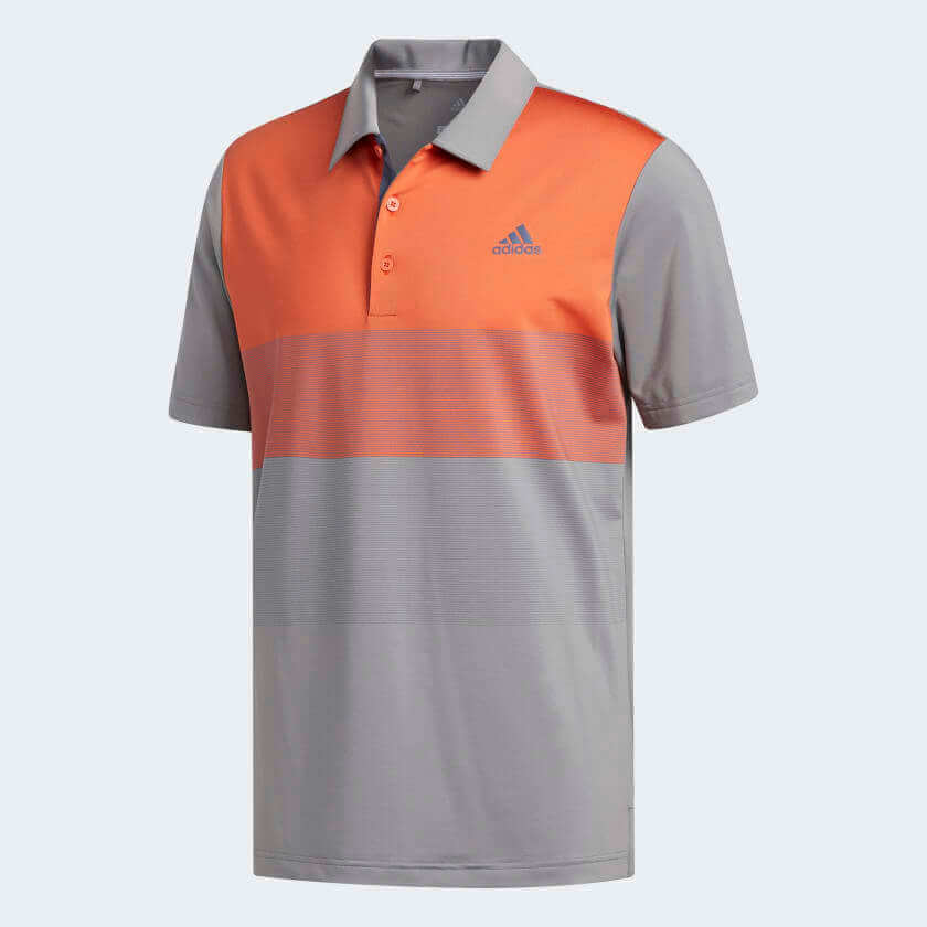 adidas Ultimate365 Gradient Polo Shirt in warm orange and grey
