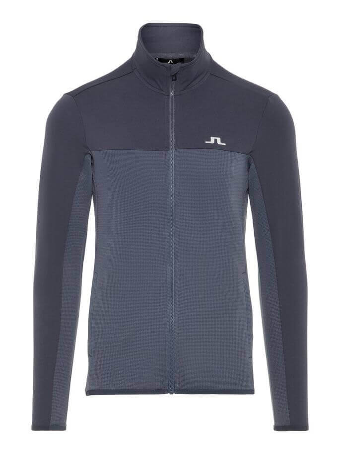 Dark grey full-zip mid-layer jacket from j.lindeberg
