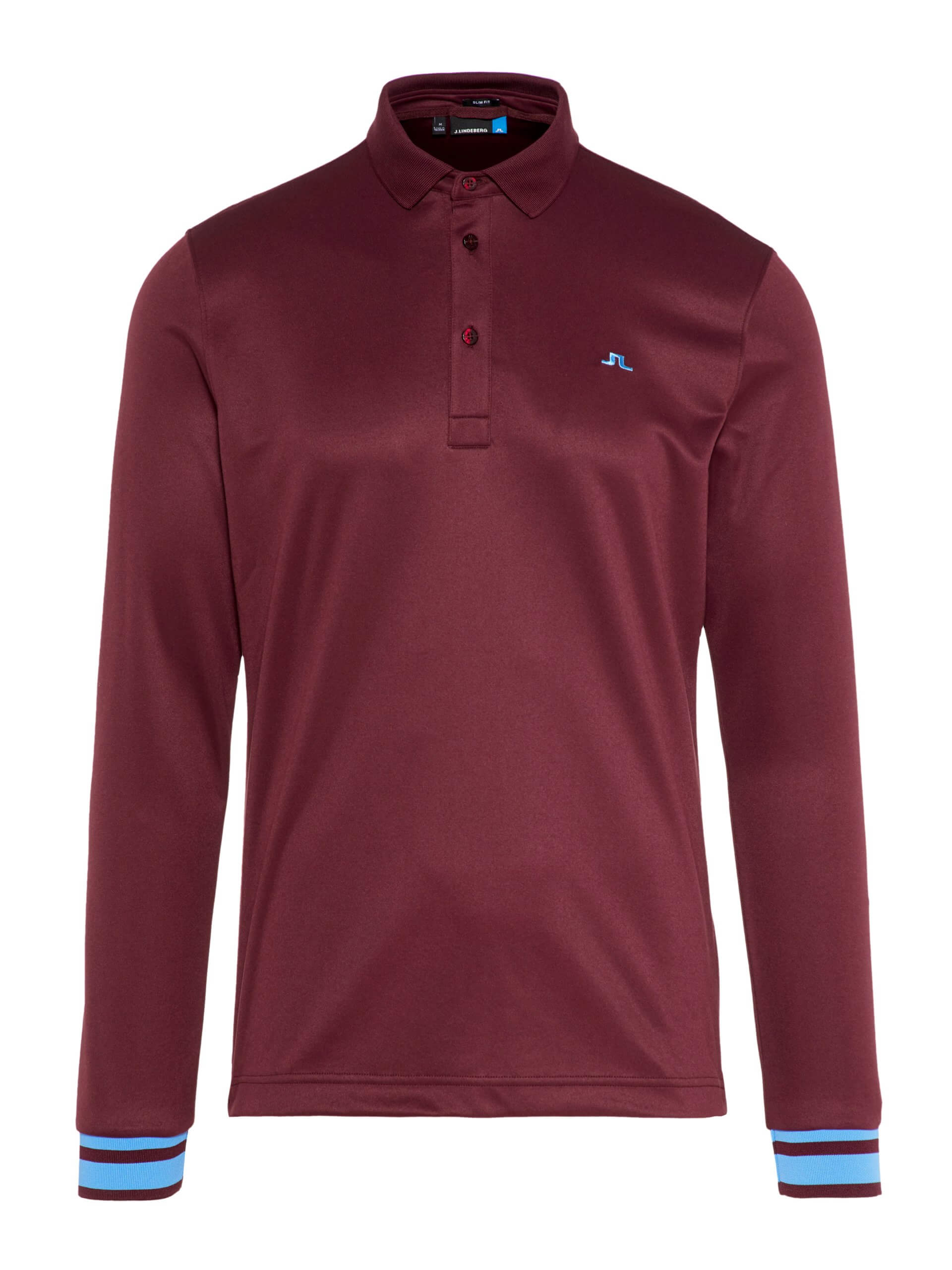 Olle LS polo shirt in Dark Mahogany with blue rings on the cuffs