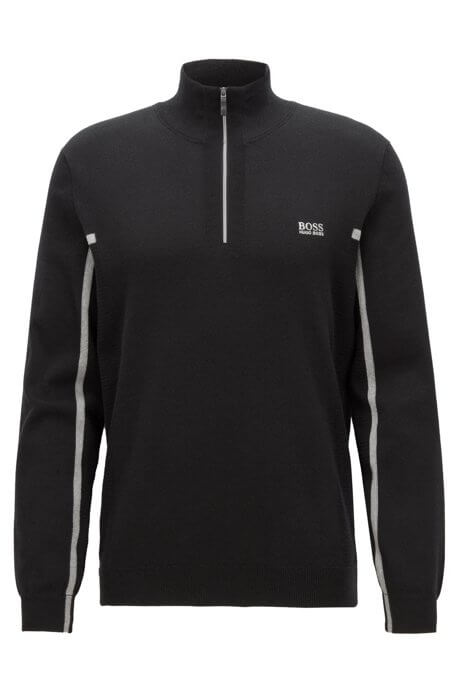Black Zanja quarter zip with small boss logo on left chest