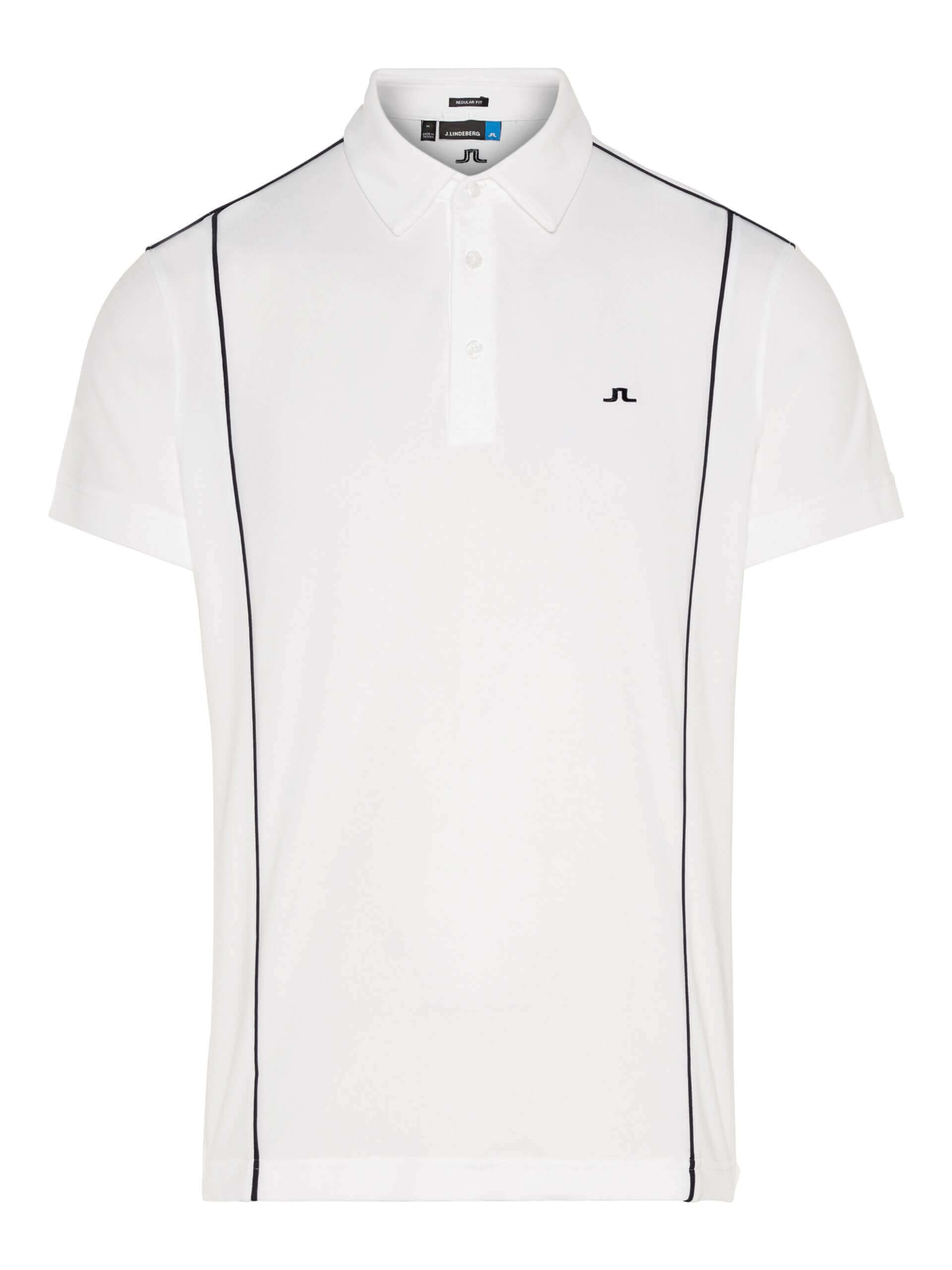 J.Lindeberg - LUKE Reg LUX Pique in white with navy pin stripe
