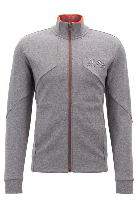 Skaz sweatshirt by hugo boss is a grey full-zip sweatshirt with 3d brandiing to the left chest