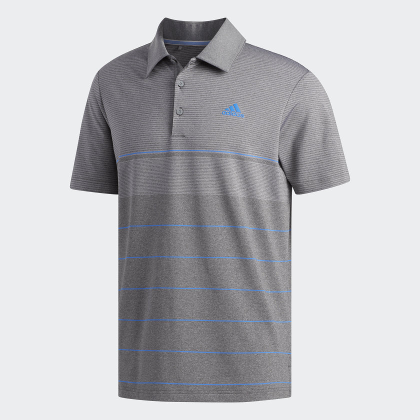 adidas Ultimate365 Heathered Stripe Polo Shirt in grey and blue